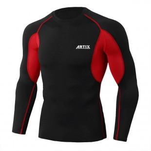 Рашгард ARTIX Red Black с длинным рукавом